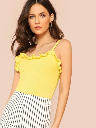 Ribbed Knit Ruffle Trim Tank Top YELLOW
