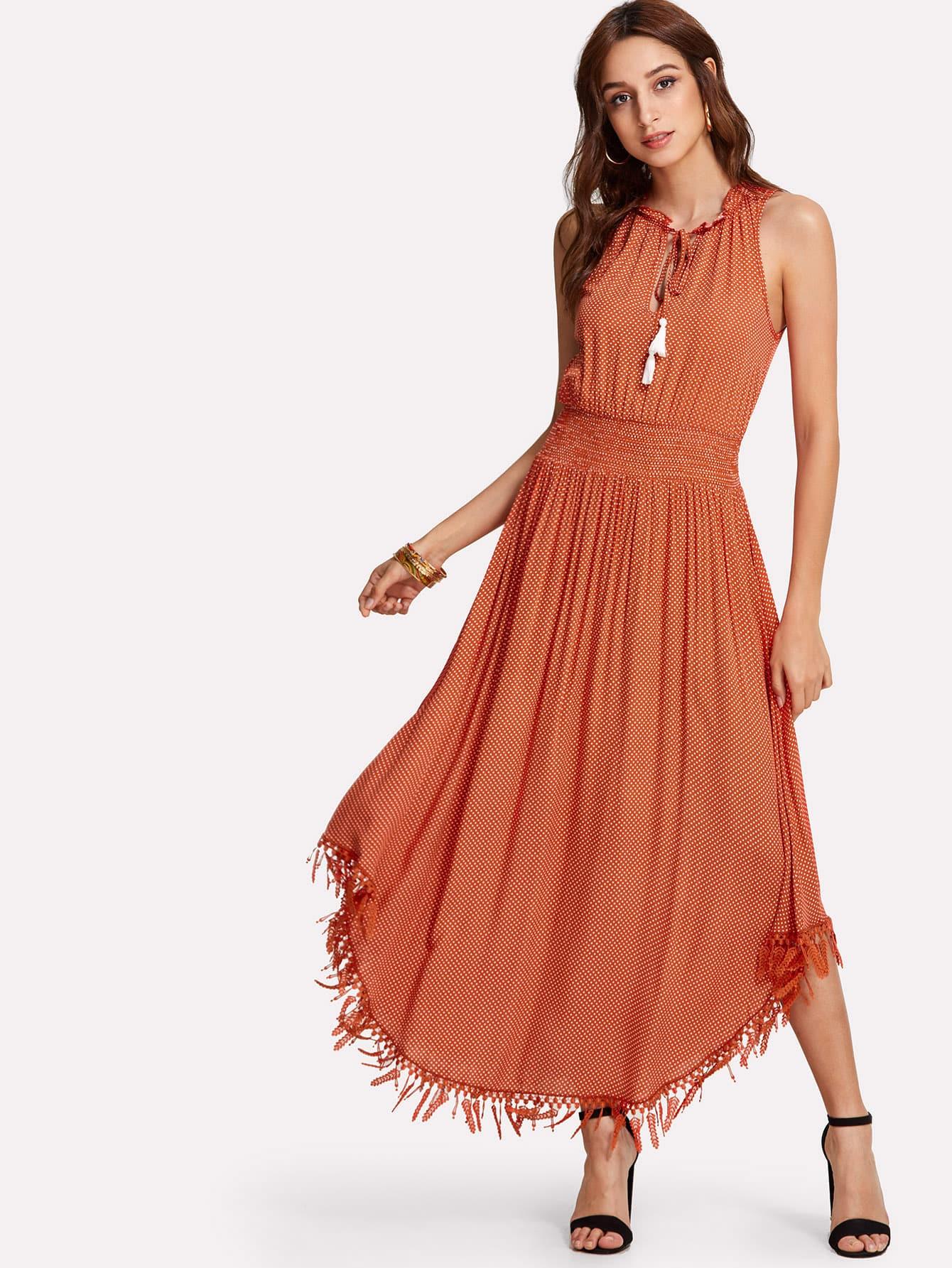 Купить Платье в горошек с кисточками, Gabi B, SheIn