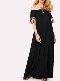 Rhinestone And Fringe Detail Cuff Bardot Dress
