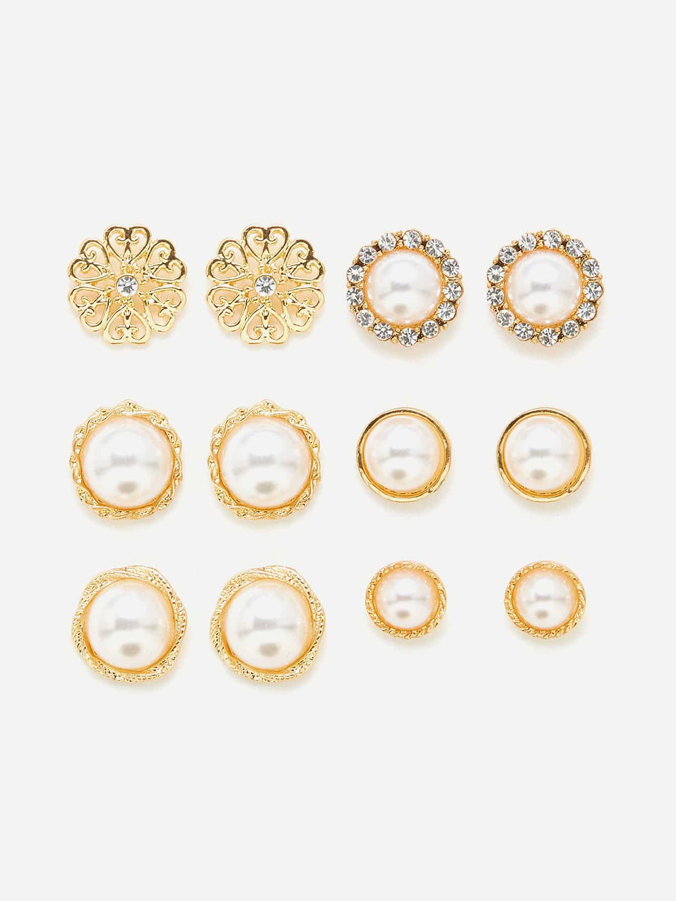Faux Pearl Decorated Stud Earring Set rhinestone faux pearl ear cuff and stud earring
