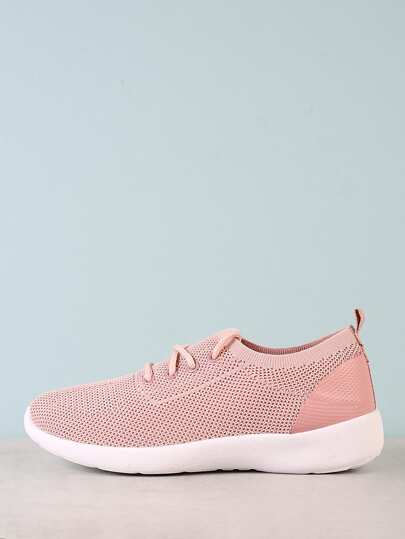 Slip On Lace Up Sneaker with Knit Design BLUSH