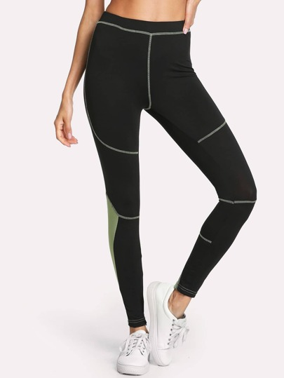 Contrast Panel Stitching Detail Leggings