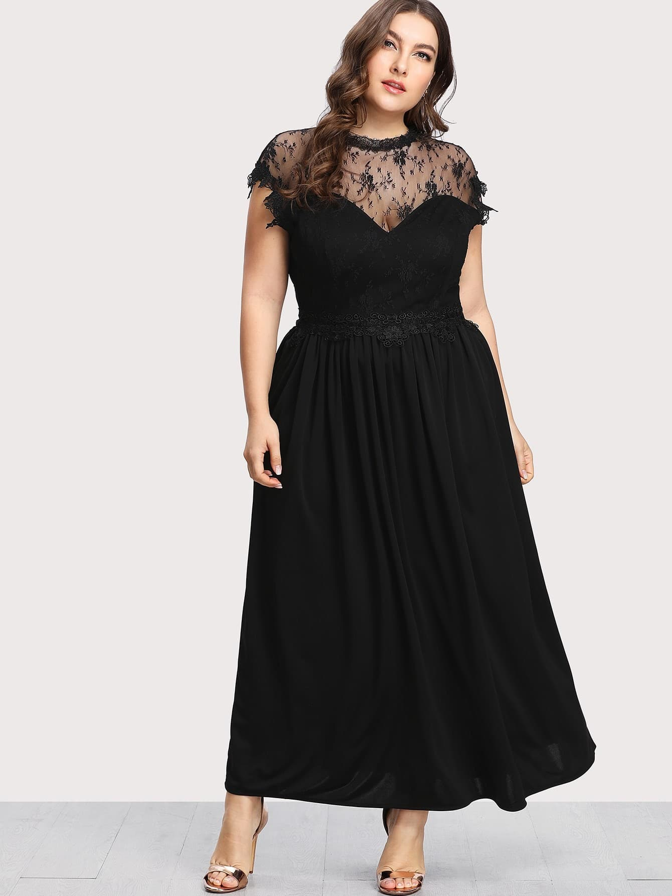 Guipure Lace Panel Dress guipure lace bodice bardot dress