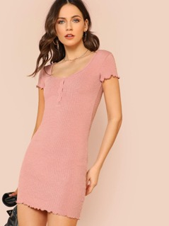Ribbed Knit Cap Sleeve Shirt Dress with Button Detail MAUVE