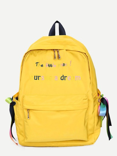 Bow Tie Slogan Embroidered Backpack