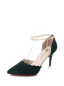 Scalloped Faux Pearl Decor Stiletto Heels