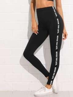 Letter Print Side Skinny Leggings