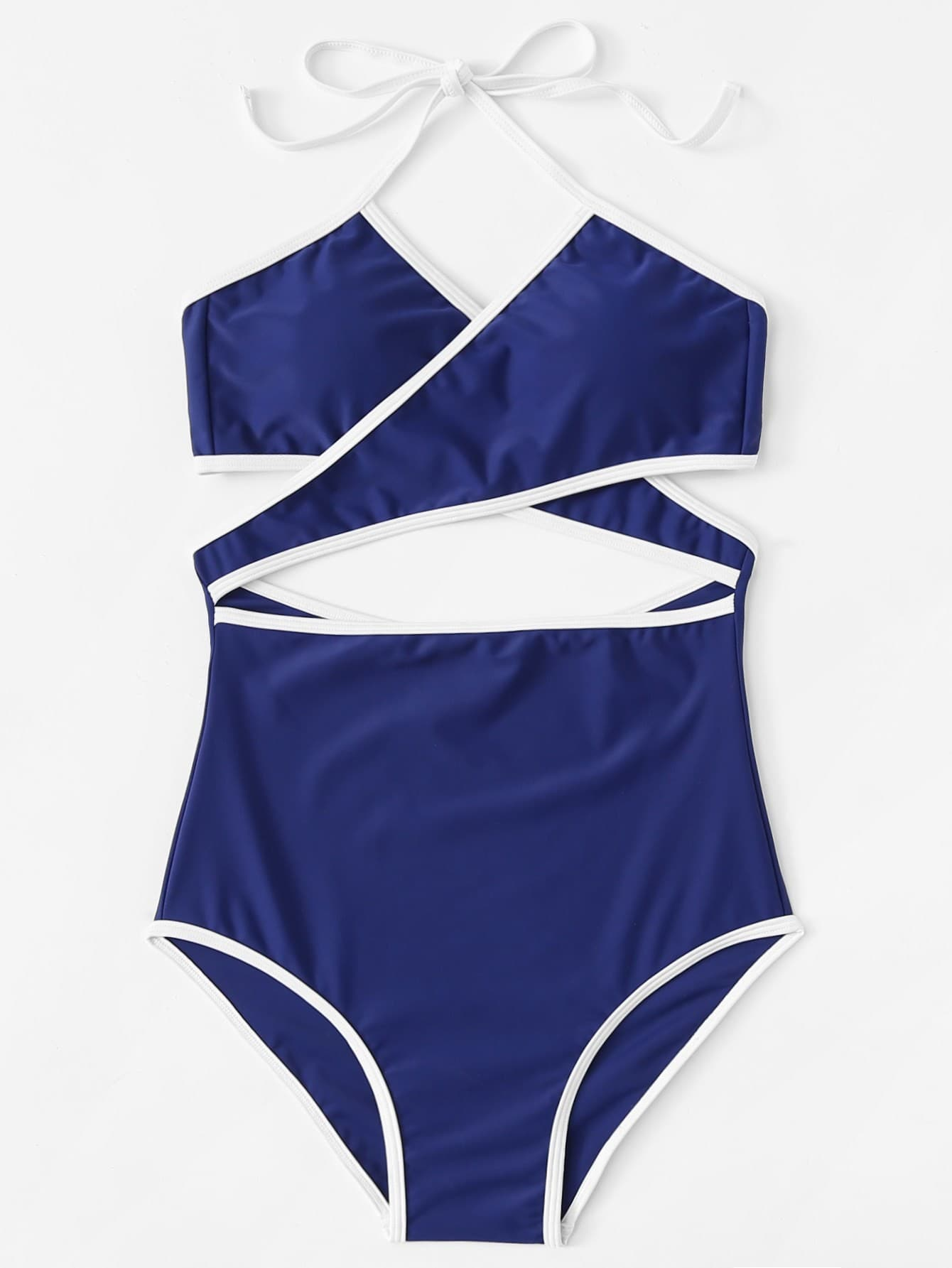 Contrast Piping Crossover Swimsuit