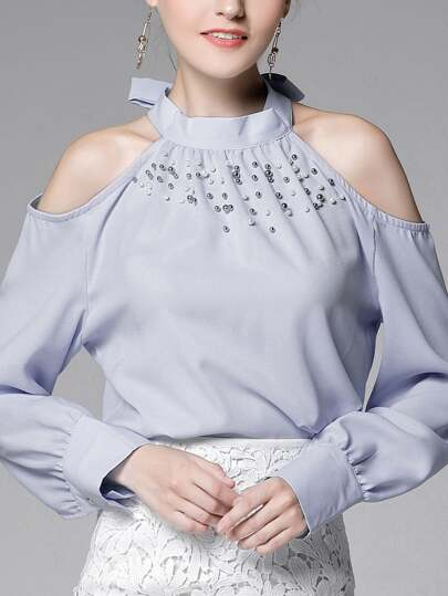 Faux Pearl Beading Tie Neck Open Shoulder Shirt