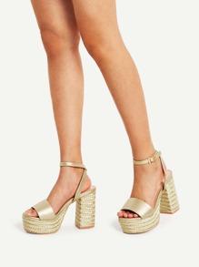 Metallic Platform Espadrille Sandals