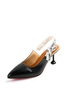 Pointed Toe Slingback Kitten Heels