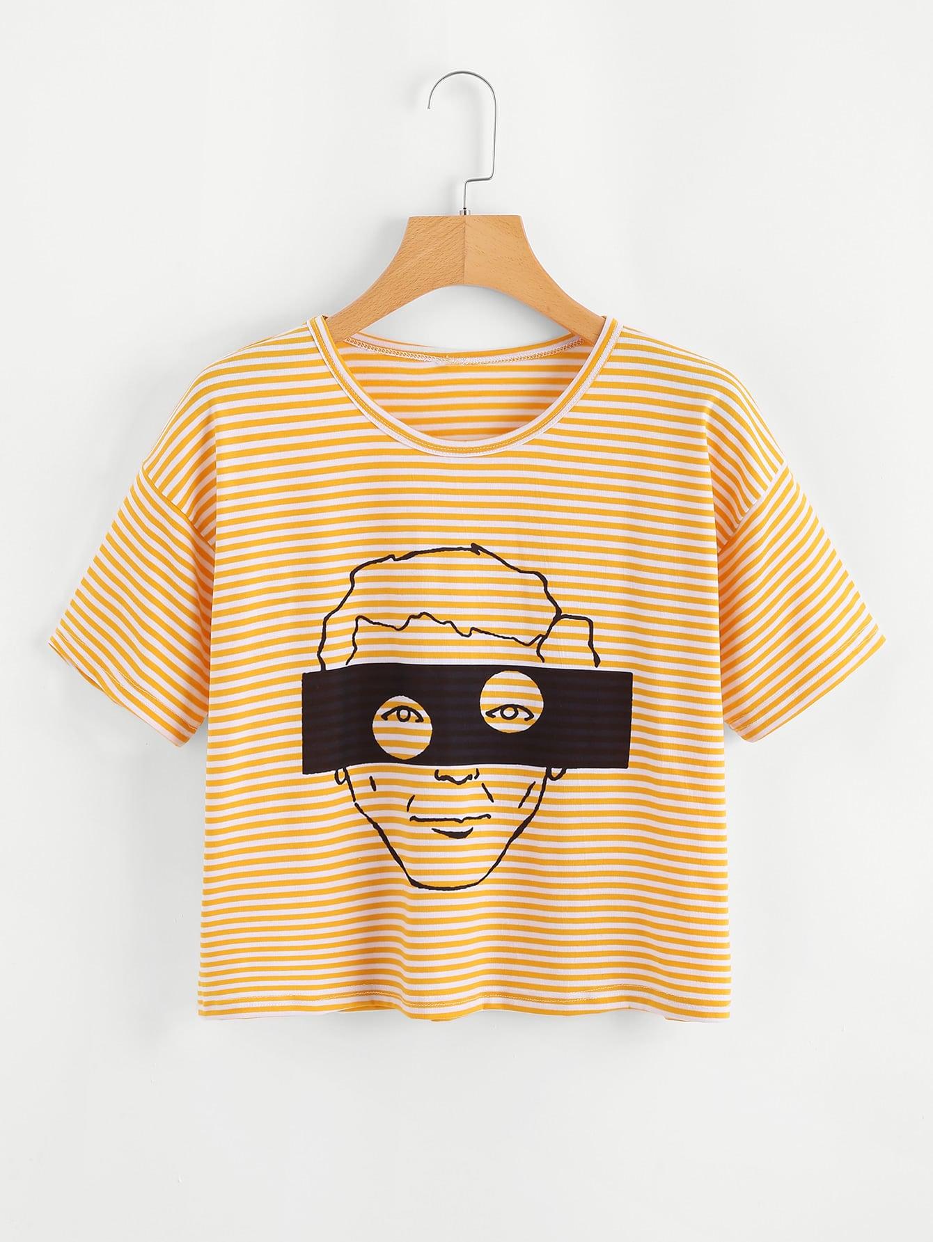 T-Shirt mit Abbildungmuster und Streifen