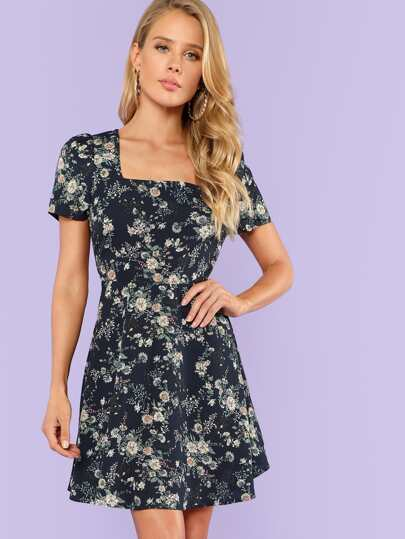 Zip Back Fit & Flared Floral Dress