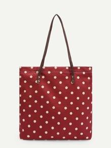 Polka Dot Canvas Tote Bag