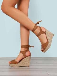 Faux Suede Ankle Wrap Espadrille Platform Wedge Sandal TAN
