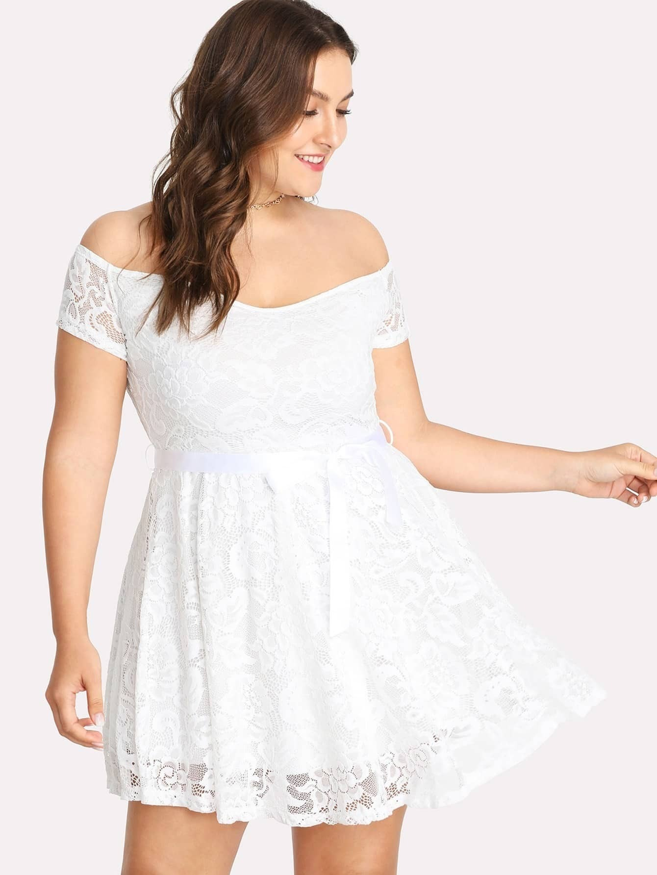 Plus Bardot Lace Overlay Skater Dress