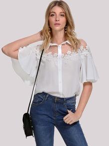 Floral Lace Applique Flutter Sleeve Shirt