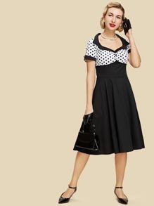 Contrast Spot Circle Dress