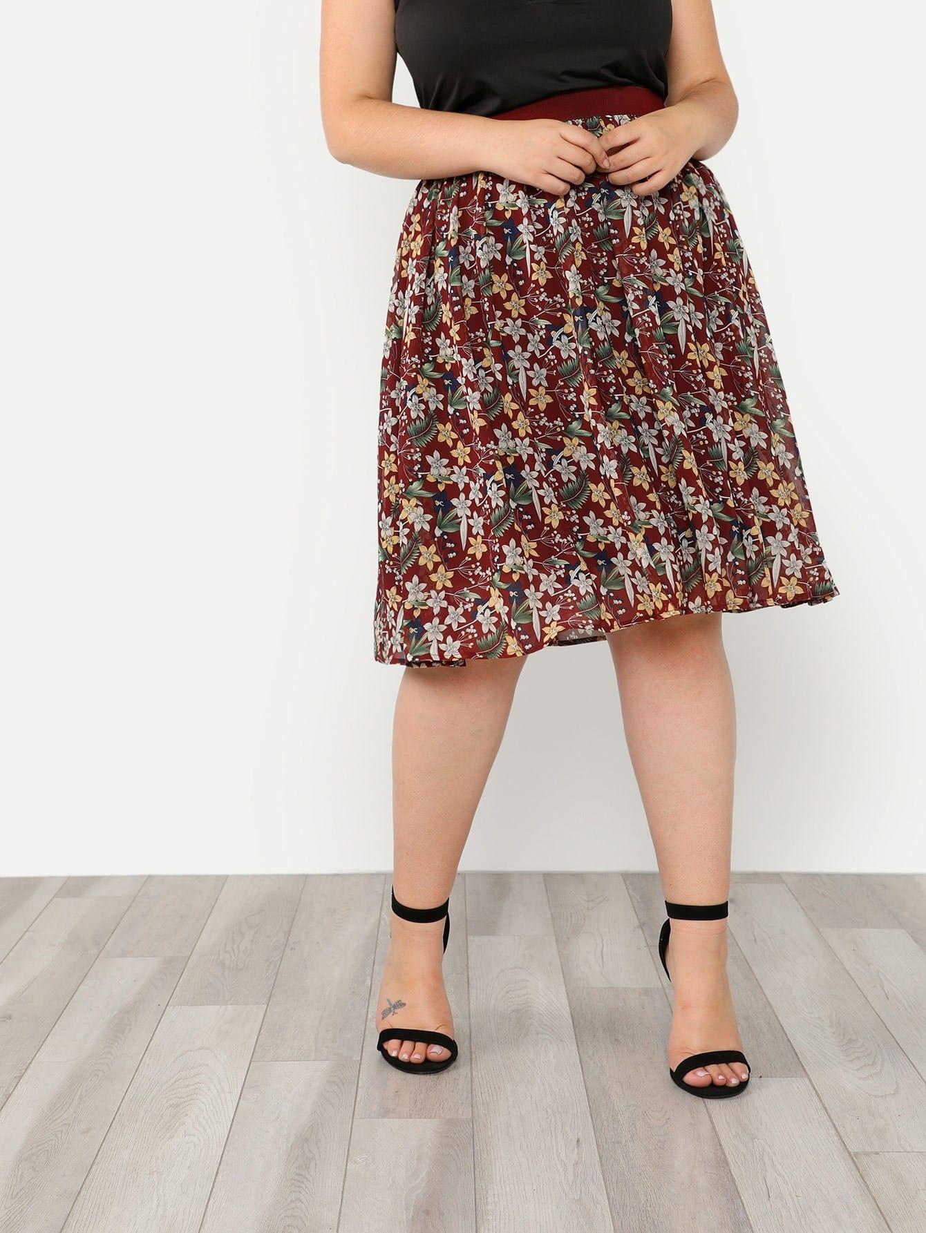 Elastic Waist Floral Skirt bohemian high waist floral print skirt for women