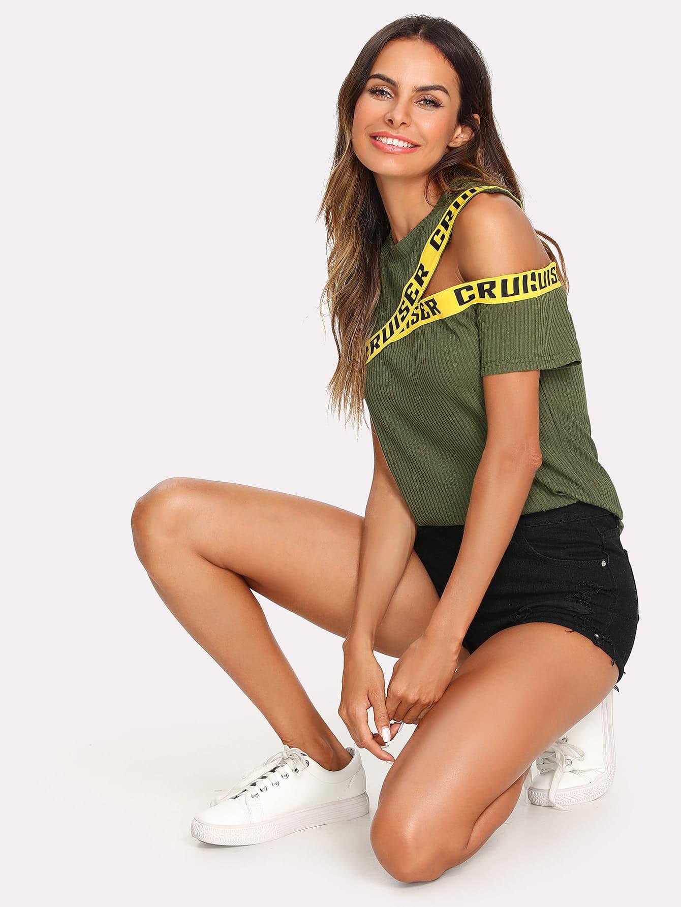 Купить Модная футболка в рубчик с текстовым принтом, Andy, SheIn