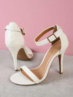 Single Band Ankle Cuff Stiletto Heel WHITE