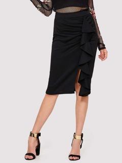 Flounce Trim Split Pencil Skirt