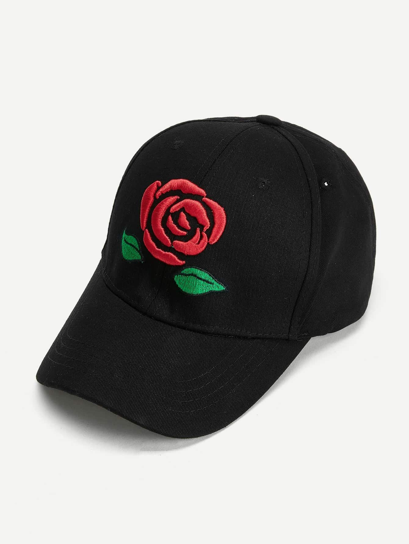 Rose Embroidered Baseball Cap