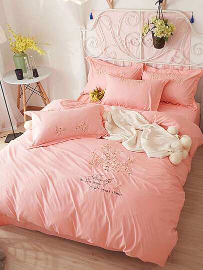 2.0m 4pcs Flower Embroidery Bedding Set