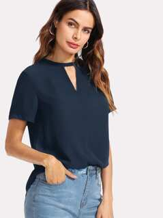V Cut Curved Hem Solid Top