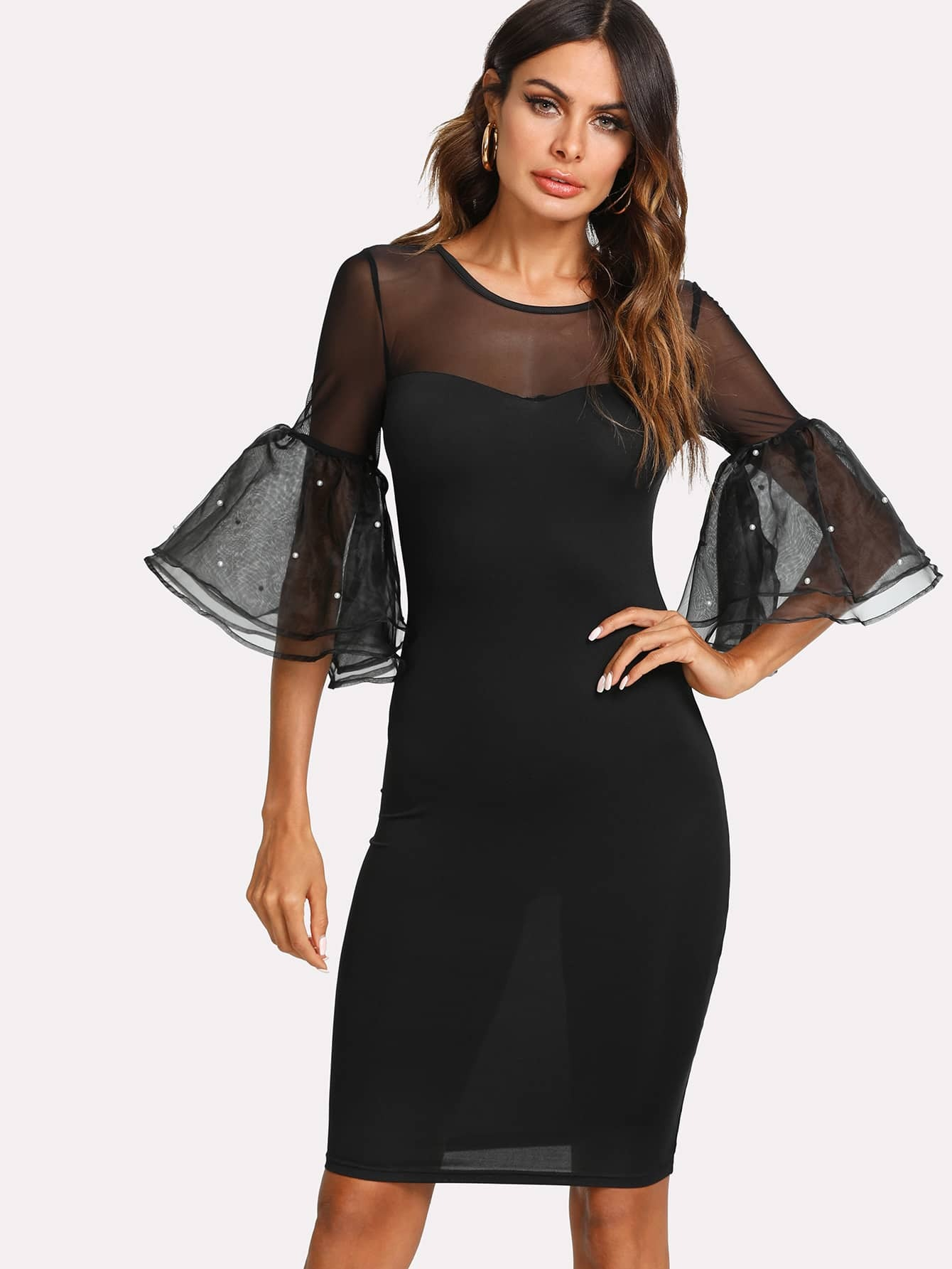 Pearl Embellished Exaggerate Mesh Flounce Sleeve Pencil Dress bow embellished peplum pencil dress