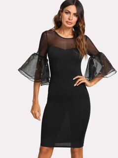 Pearl Embellished Exaggerate Mesh Flounce Sleeve Pencil Dress