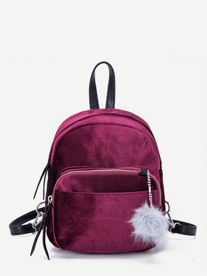 Pom Pom Decor Suede Backpack