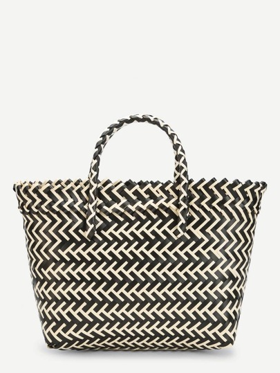 Two Tone Striped Design Tote Bag