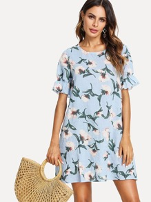 Flounce Sleeve Floral Dress