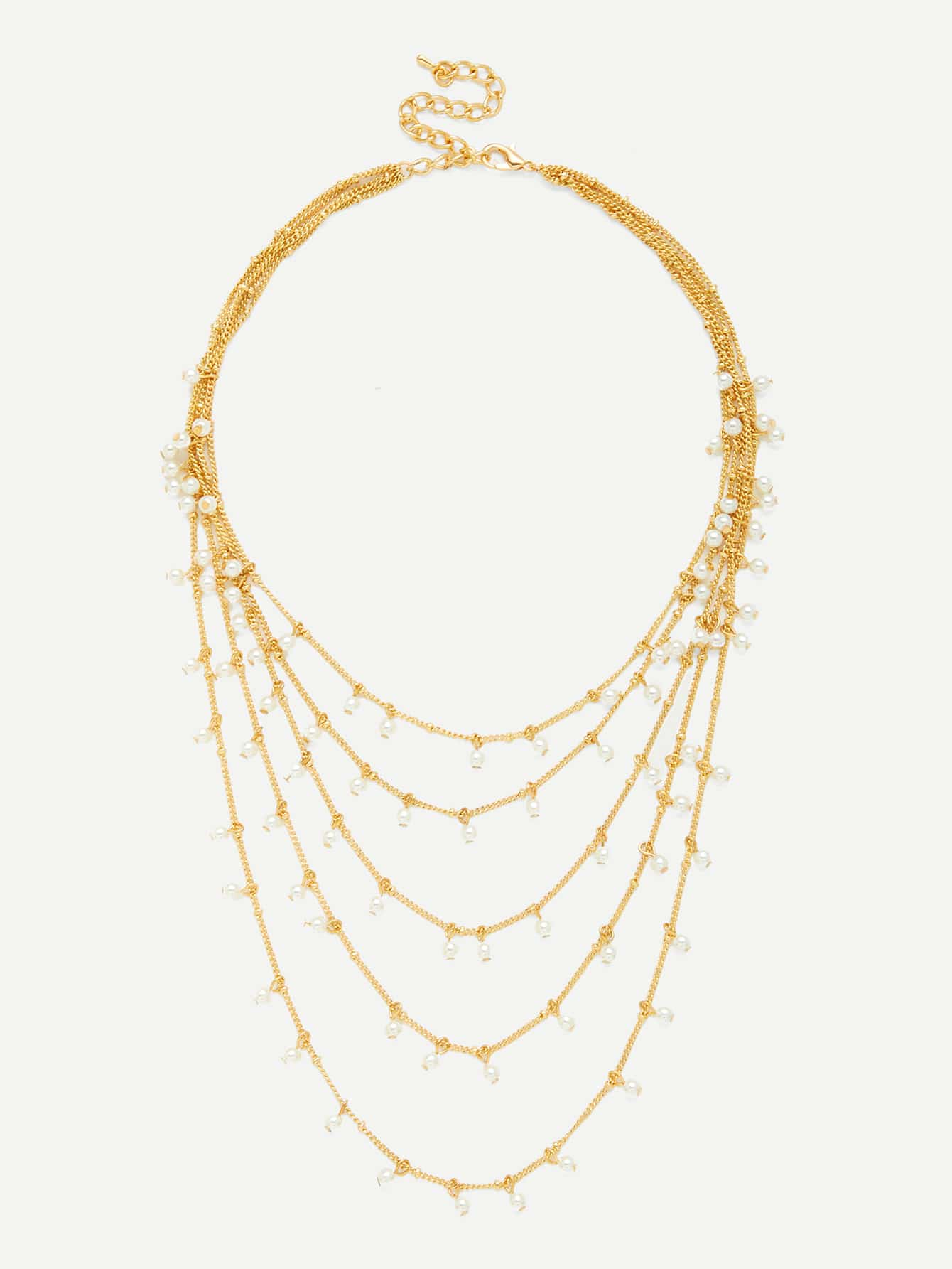 Faux Pearl Decorated Layered Chain Necklace faux pearl dot print dress