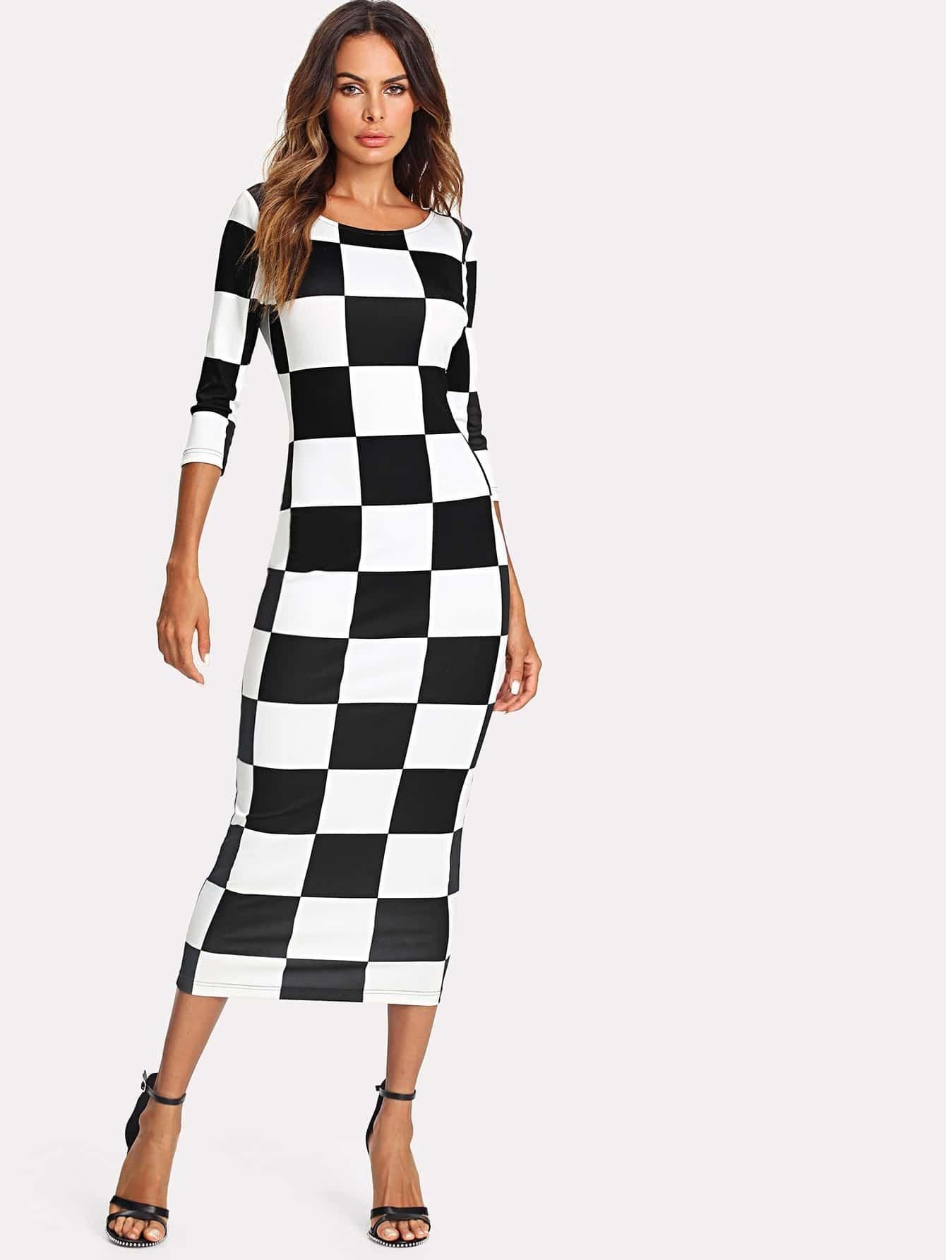Allover Checkered Print Pencil Dress allover bear print dress