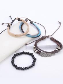 Leaf & Beaded Design Bracelet Set