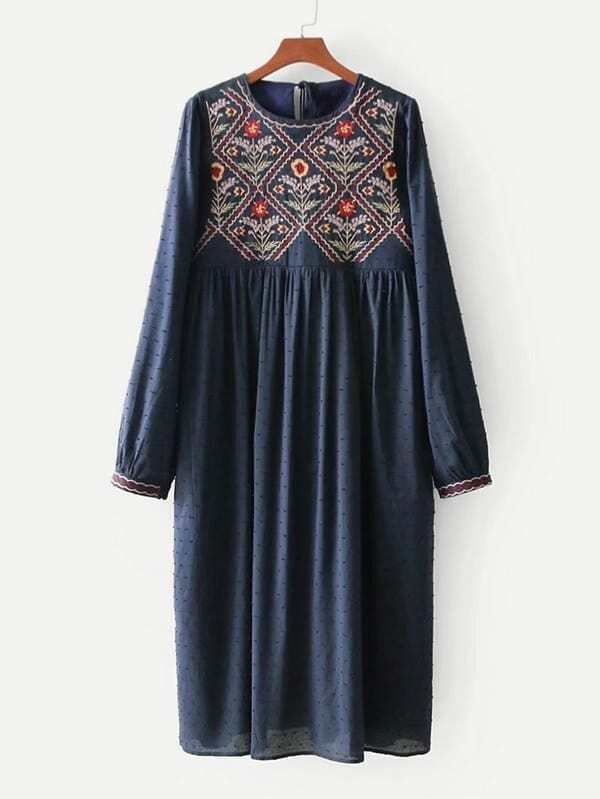 Embroidery Spot Jacquard Dress by Sheinside