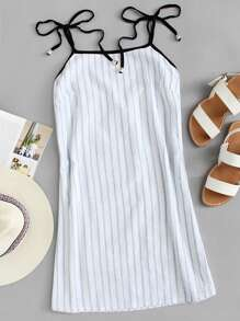 Striped Cami Dress ROMWE