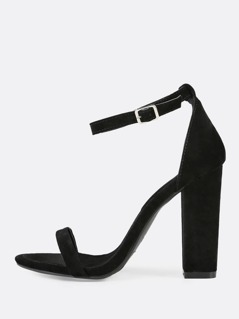Faux Suede Single Band Ankle Strap Chunky Heel BLACK
