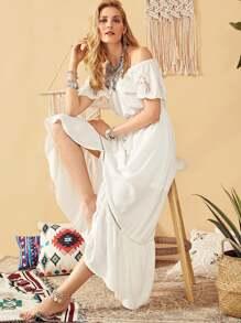 Eyelet Embroidered Asymmetric Flounce Bardot Dress