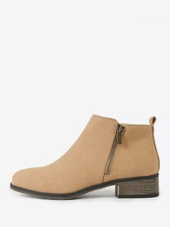 Double Side Zipper Nubuck Round Toe Bootie NATURAL