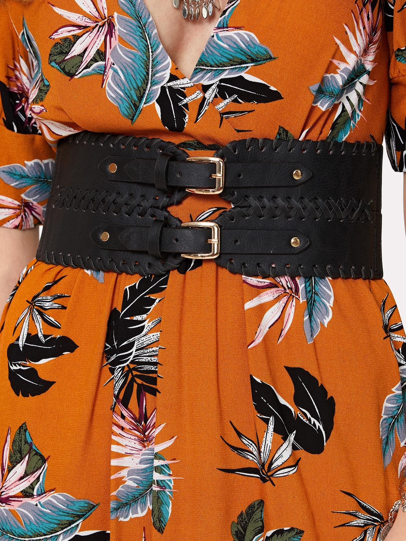 Double Buckle PU Belt все цены