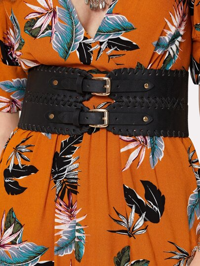 Double Buckle PU Belt