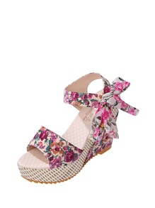 Floral Embellished Bow Tie Wedge Sandals