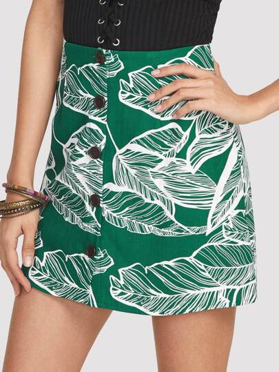 Jungle Leaf Print Button Up Skirt