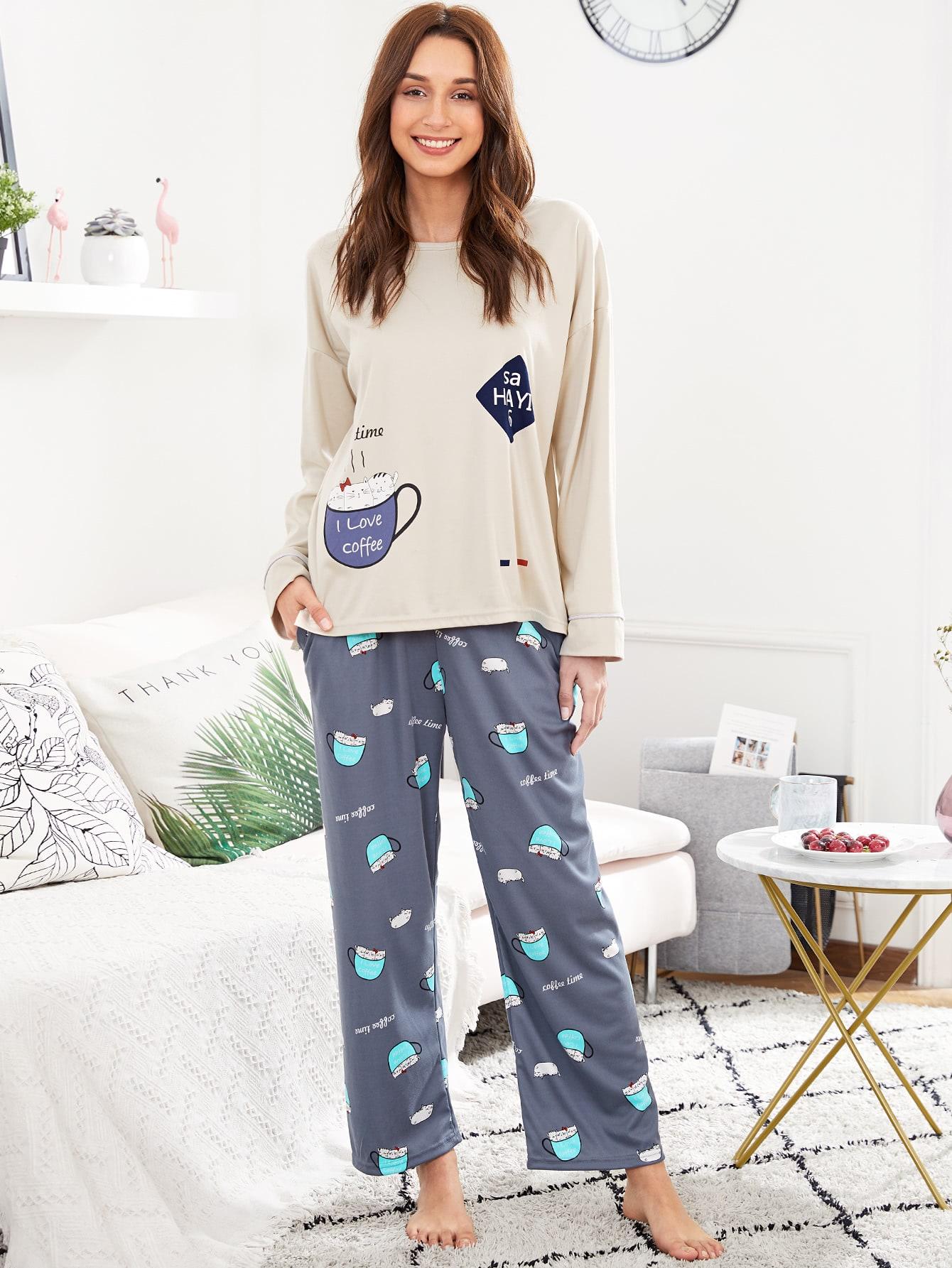 Купить Тройник и брюки для печати мультфильмов PJ Set, Gabi B, SheIn