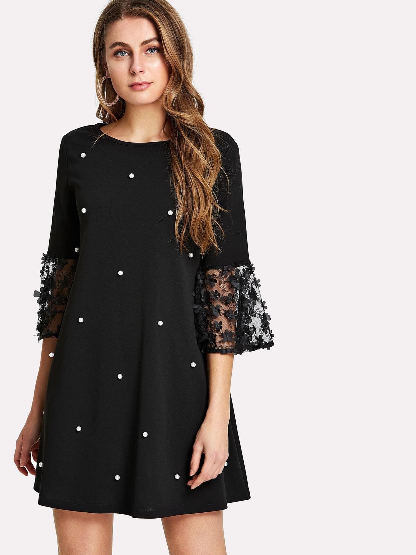 Applique Cuff Pearl Embellished Dress цена и фото