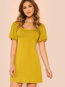 Scoop Neck Puff Sleeve Dress