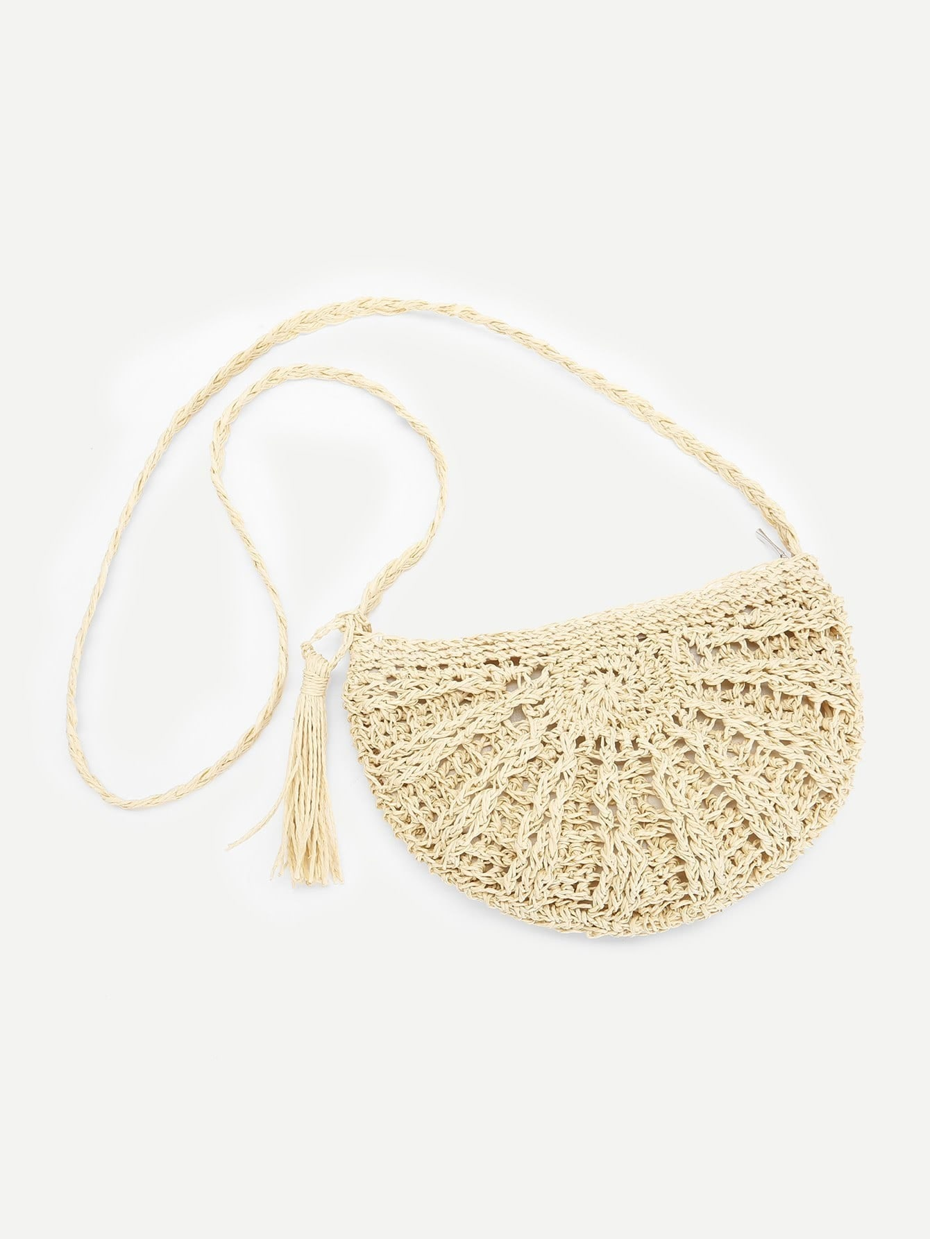 Tassel Detail Straw Crossbody Bag tassel detail straw crossbody bag